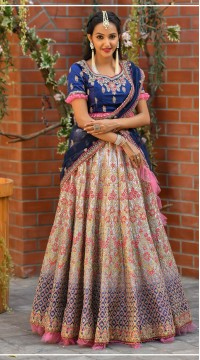 Malai Satin Unstitched Lehenga Choli FK929998