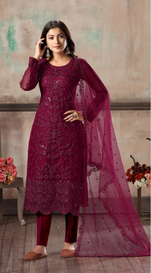 Bridal salwar suit in rani color FK936109515