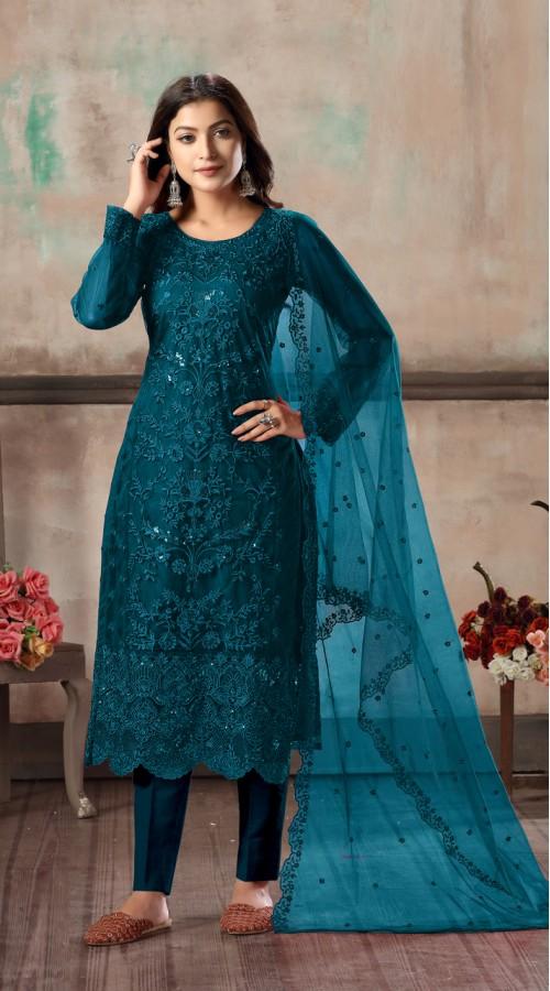 Bridal salwar suit in Sea Blue color FK936109516