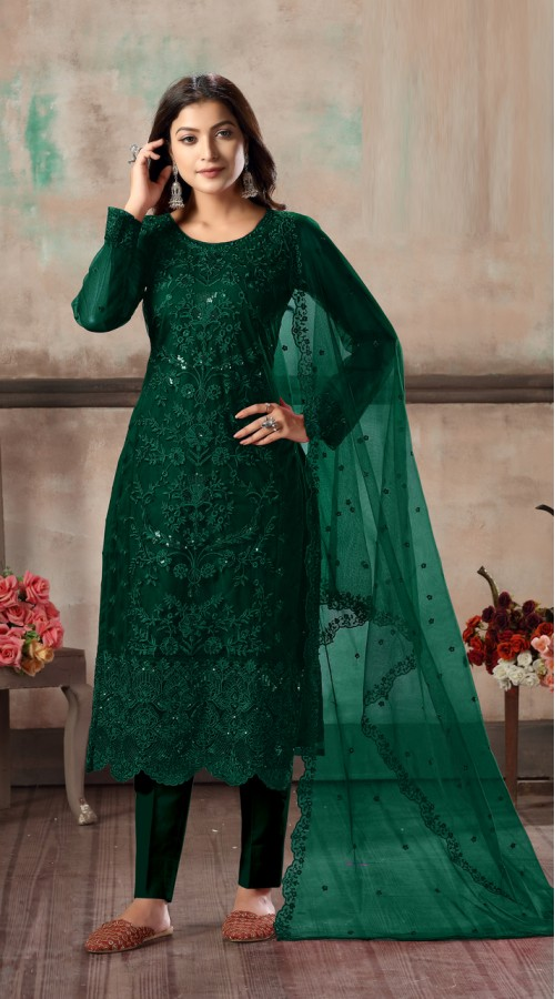 Bridal salwar suit in Green yellow color FK936109517