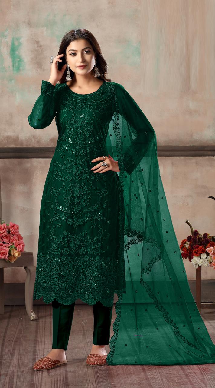 Bridal salwar suit in Green yellow color FK936109517