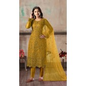 Bridal salwar suit in mustard color FK936109518