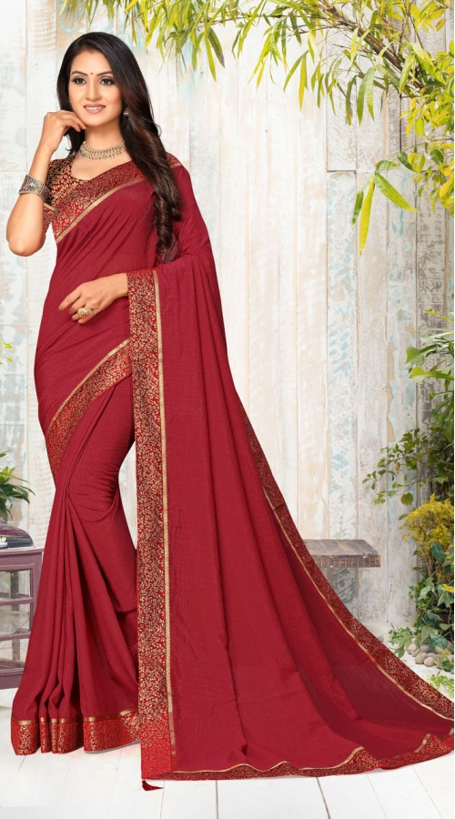 Designer Casual wear vichitra silk Maroon Saree ROT9005107351