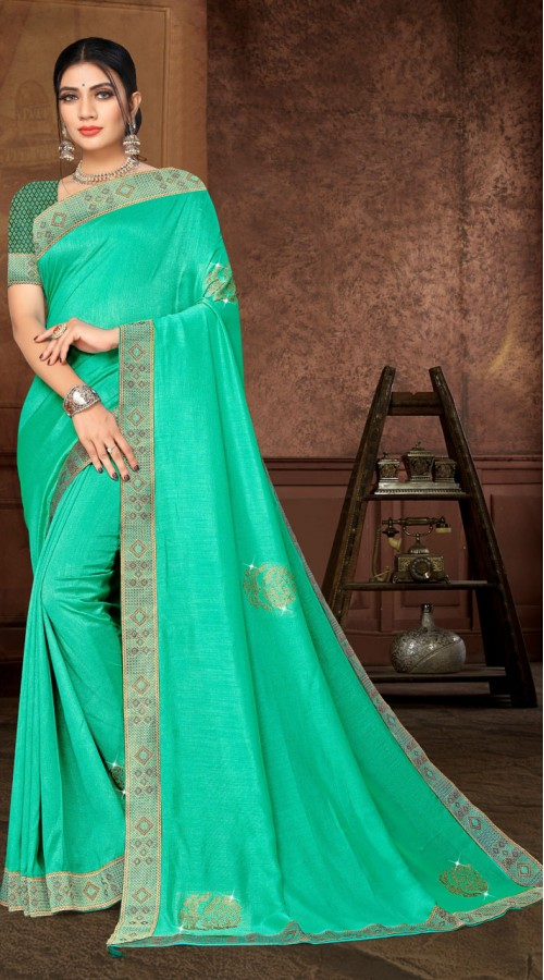 Designer Casual wear vichitra silk Light Green Saree ROT9006107356