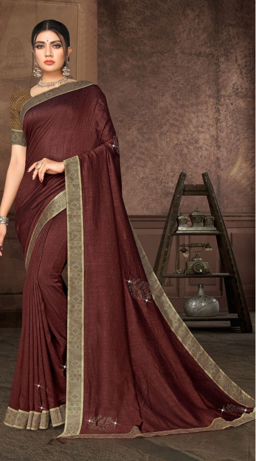 Designer Casual wear vichitra silk Coffee Saree ROT9006107360