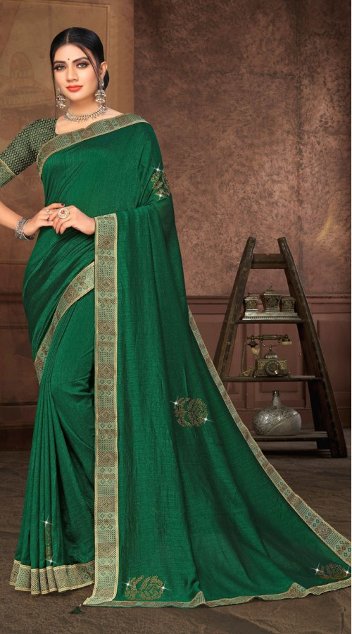 Designer Casual wear vichitra silk Green Saree ROT9006107361