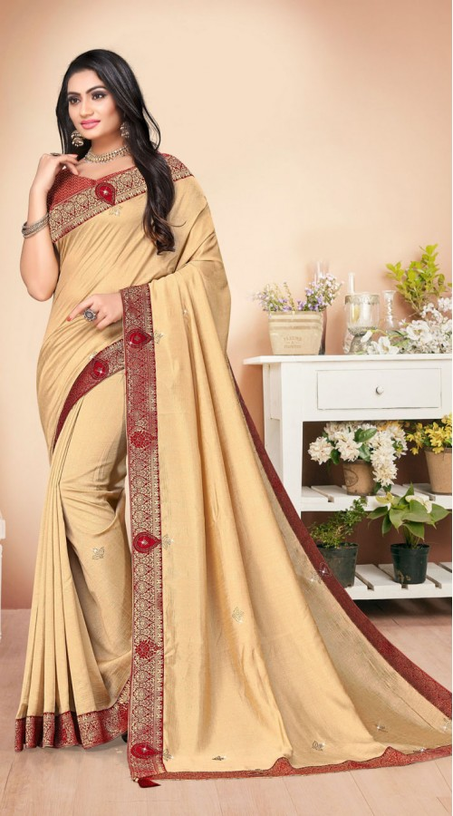 Designer Casual wear vichitra silk Beige Saree ROT9007107368