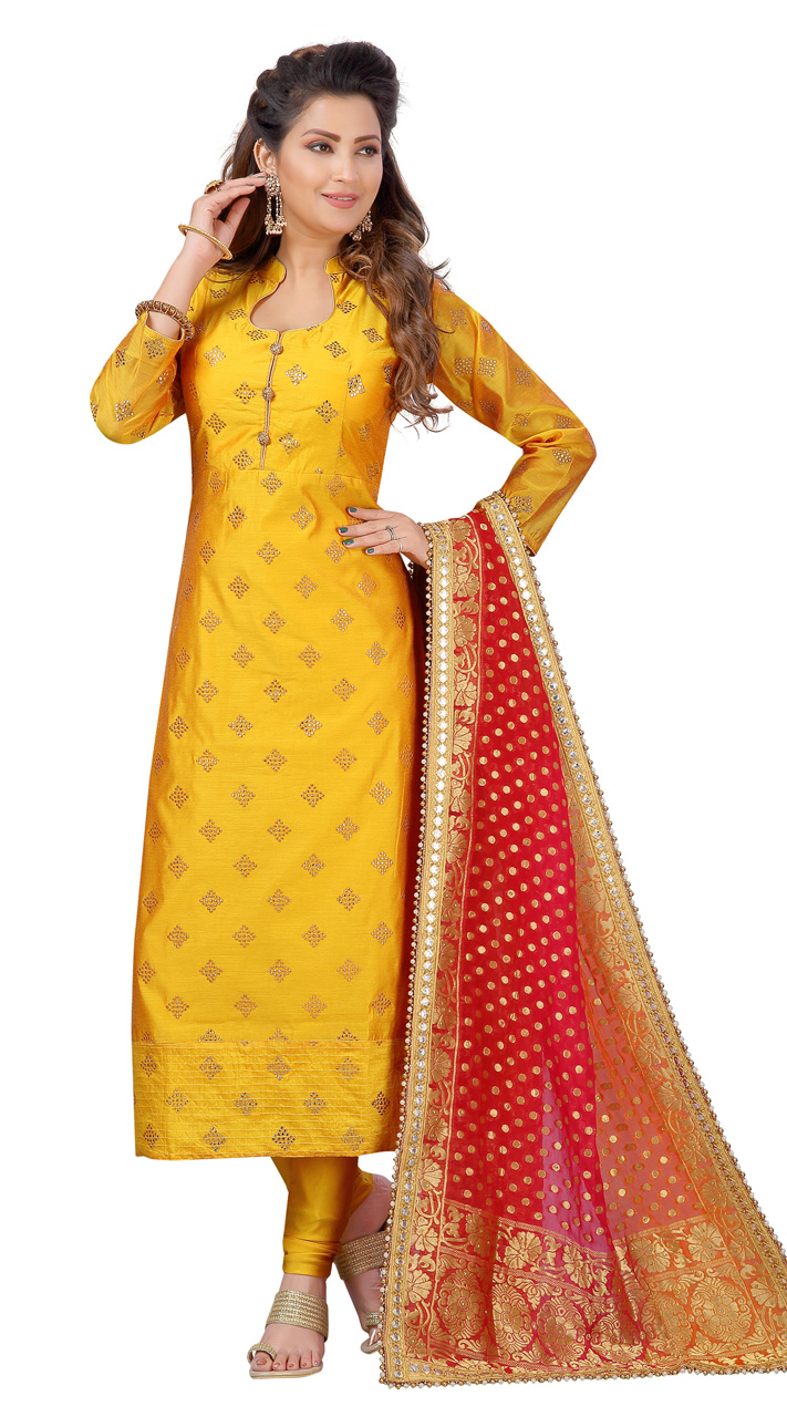 Chanderi Yellow Designer Party Wear Readymade Suit ROT9011107399