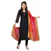 Chanderi Black Designer Party Wear Readymade Suit ROT9011107400