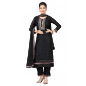 Chanderi Black Designer Party Wear Readymade Suit ROT9011107401