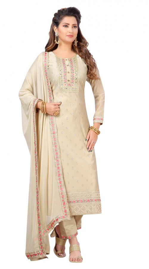 Chanderi Beige Designer Party Wear Readymade Suit ROT9011107402
