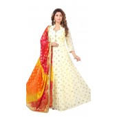 Chanderi Cream Designer Party Wear Readymade Suit ROT9011107404