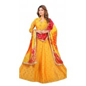 Chanderi Yellow Designer Party Wear Readymade Suit ROT9011107405