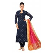 Chanderi Navy Blue Designer Party Wear Readymade Suit ROT9011107407