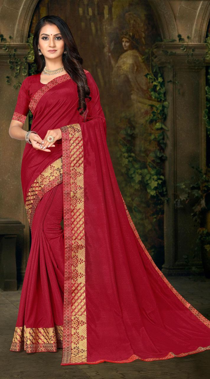 Designer Casual wear vichitra silk Red Saree ROT9013107419