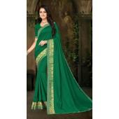 Designer Casual wear vichitra silk Green Saree ROT9013107420