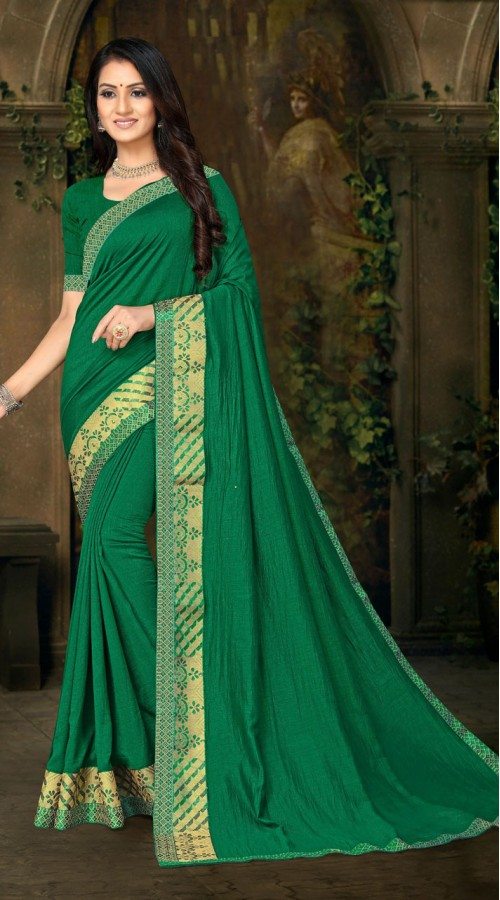 Designer Casual wear vichitra silk Green Saree ROT9013107420