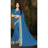 Designer Casual wear vichitra silk Blue Saree ROT9013107421