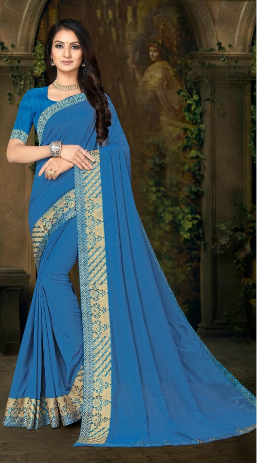 Designer Casual wear vichitra silk Blue Saree ROT9013107421