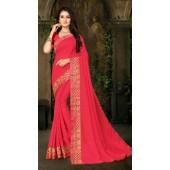 Designer Casual wear vichitra silk Pink Saree ROT9013107422