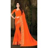 Designer Casual wear vichitra silk Orange Saree ROT9013107423