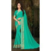 Designer Casual wear vichitra silk Green Saree ROT9013107424
