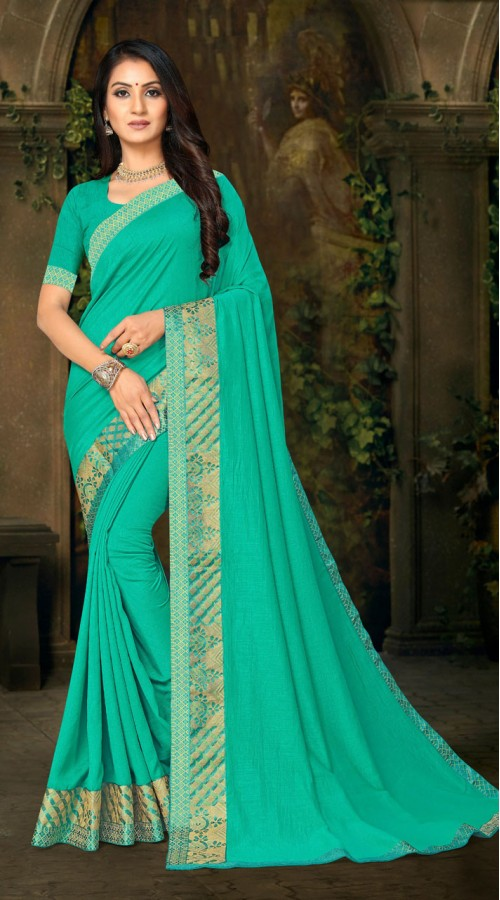 Designer Casual wear vichitra silk Green Saree ROT9013107424