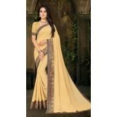 Designer Casual wear vichitra silk Cream Saree ROT9013107425
