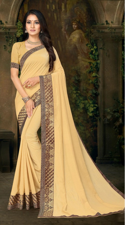 Designer Casual wear vichitra silk Cream Saree ROT9013107425