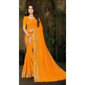 Designer Casual wear vichitra silk Mustard Saree ROT9013107426