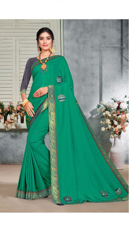 Designer Casual wear vichitra silk Green Saree ROT9014107429