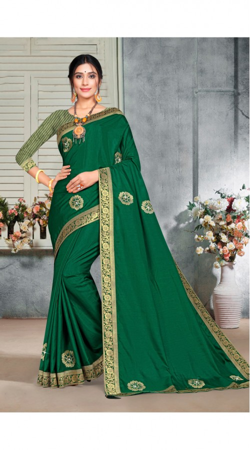 Designer Casual wear vichitra silk Green Saree ROT9014107433