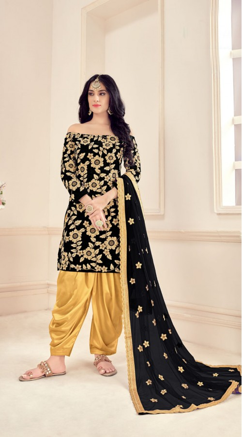 Black Designer Party Wear Velvet Salwar Suit ROT9026107637