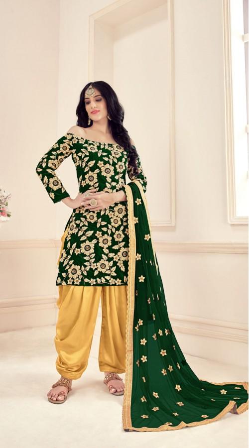 Green Designer Party Wear Velvet Salwar Suit ROT9026107638