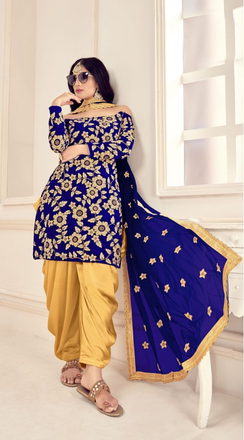 Blue Designer Party Wear Velvet Salwar Suit ROT9026107639