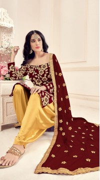 Maroon Designer Party Wear Velvet Salwar Suit ROT9026107640
