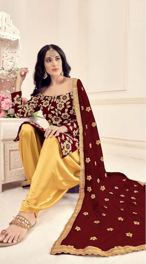Maroon Designer Party Wear Velvet Salwar Suit ROT9026107640