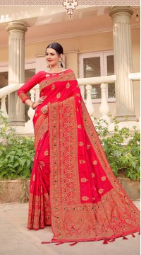 Dark Pink Designer Classic Wear Silk Saree ROT9035107722