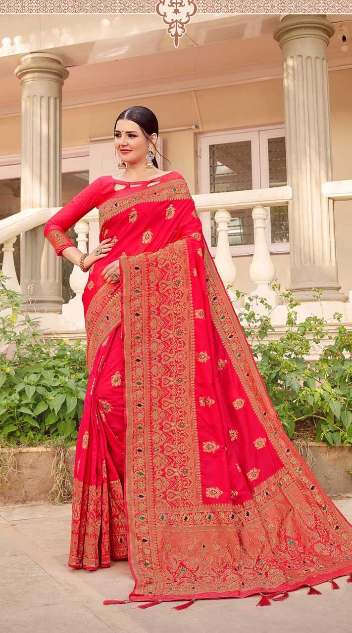 Dark Pink Designer Classic Wear Silk Saree ROT9035107722