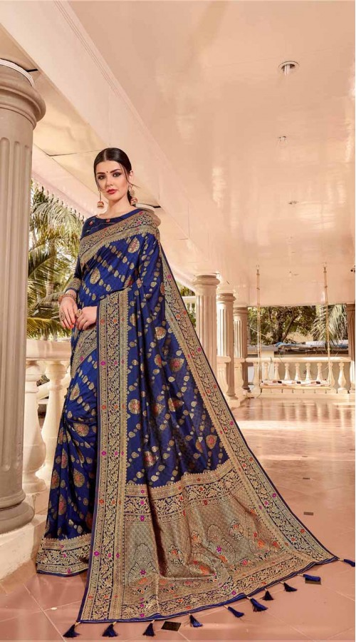 Blue Designer Classic Wear Silk Saree ROT9035107723