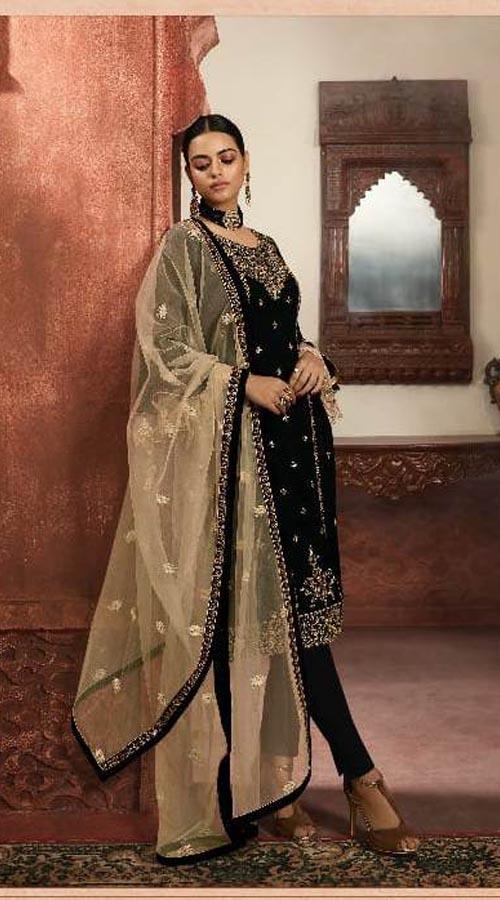 Designer Party Wear Salwar Suit in Black color ROT9434111201