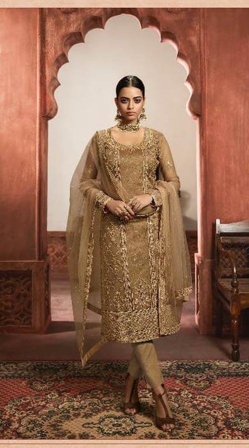 Designer Party Wear Salwar Suit in Beige color ROT9434111204