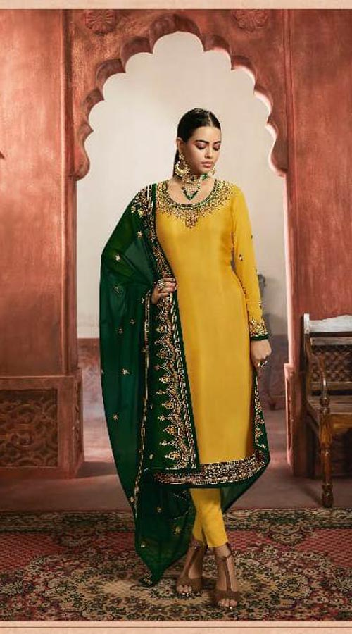 Designer Party Wear Salwar Suit in Yellow color ROT9434111207