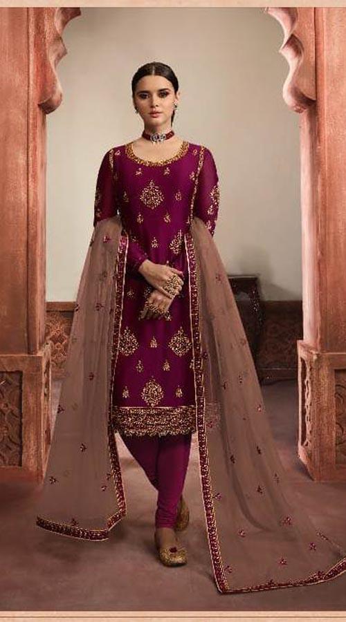 Designer Party Wear Salwar Suit in wine color ROT9434111208