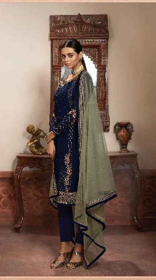 Designer Party Wear Salwar Suit in Navy Blue color ROT9434111209