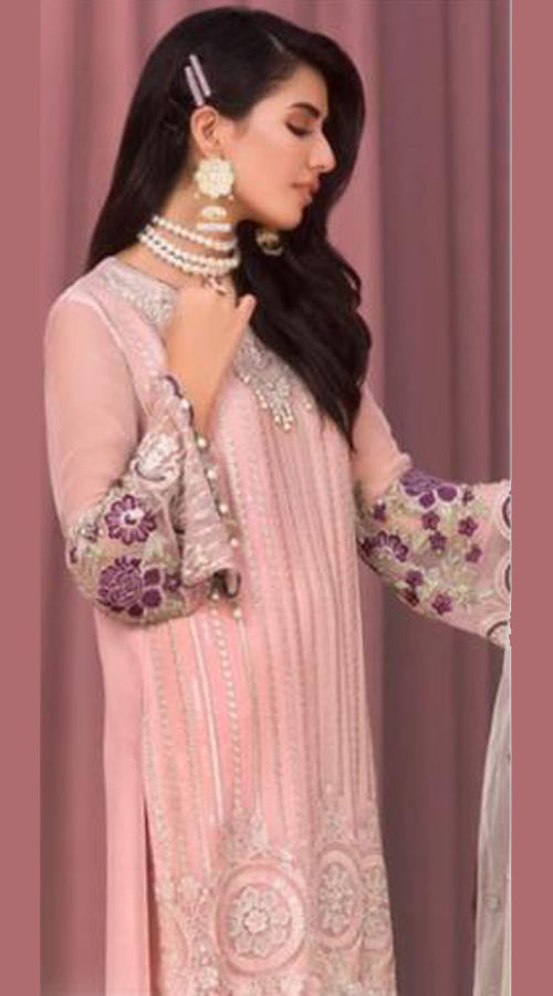 Designer party Wear Georgette Pakistani style suit in Baby pink color ROT9441111267