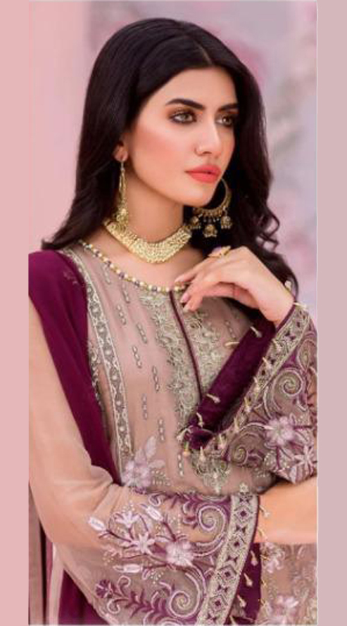 Designer party Wear Georgette Pakistani style suit in Beige color ROT9441111268
