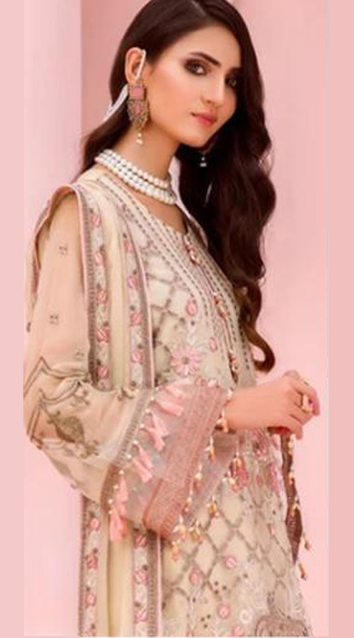 Designer party Wear Georgette Pakistani style suit in Cream color ROT9441111269