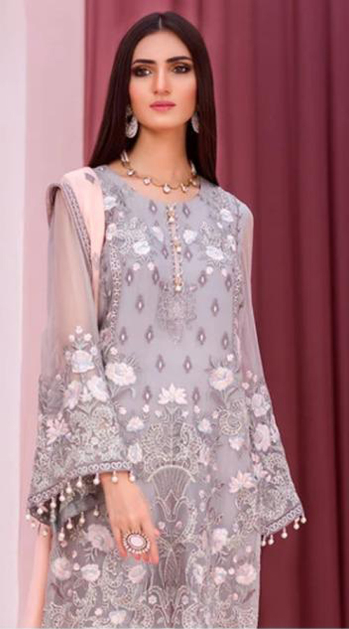 Designer party Wear Georgette Pakistani style suit in Grey color ROT9441111270