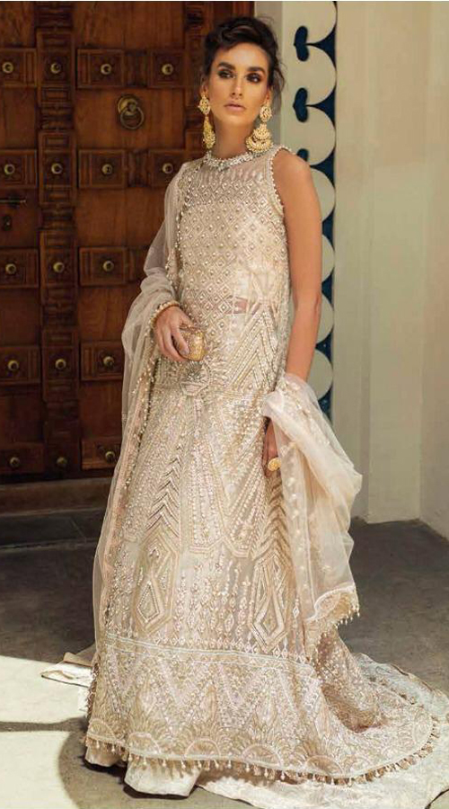 Designer Party wear pakistani style suit in cream and off white color ROT9454111412